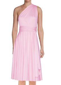 Short infinity bridesmaid dress Blush pink convertible gown for prom evening & formal occasions