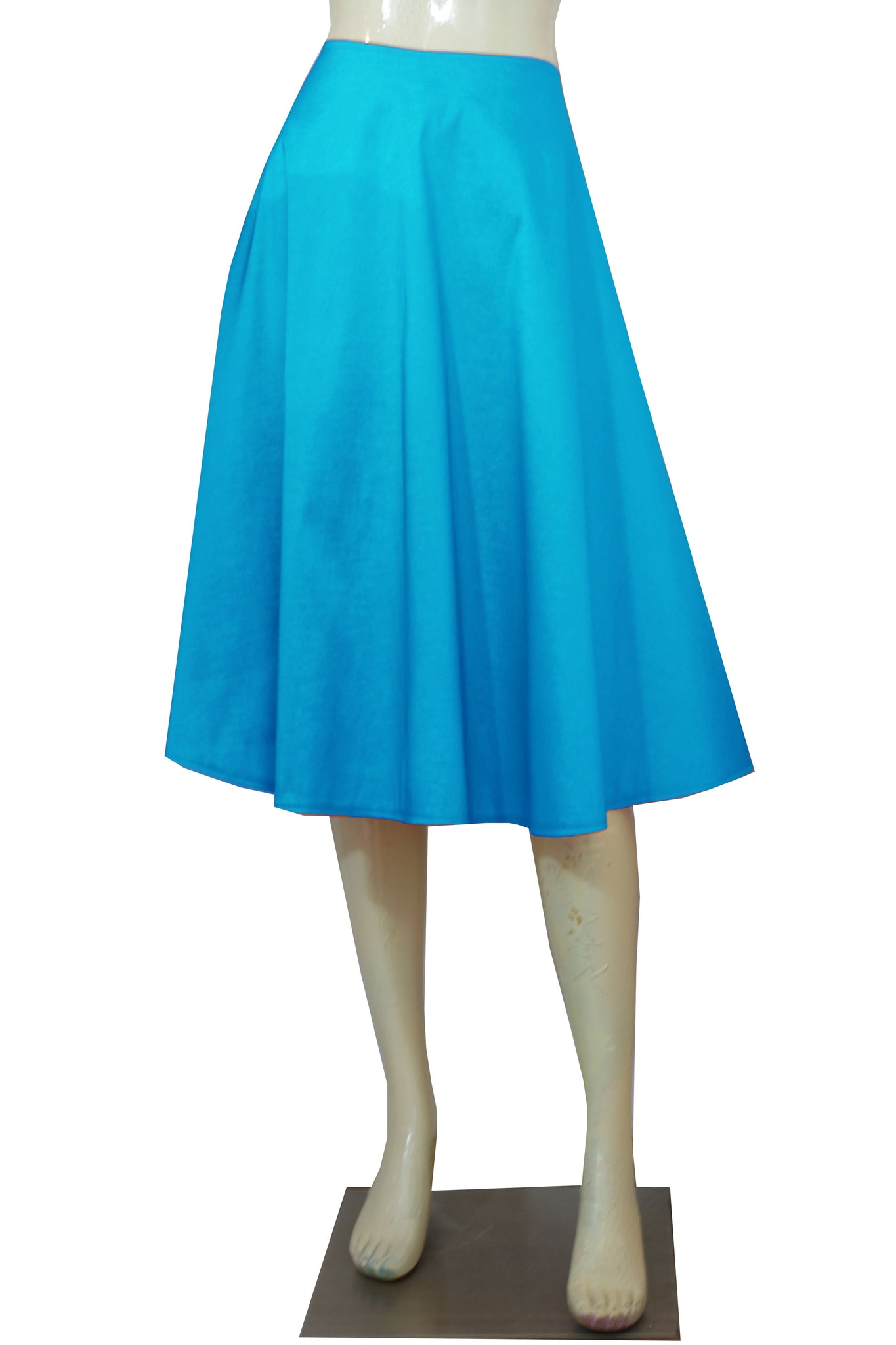 tea length taffeta skirt sky blue plus size skirt a-line midi skirt bridesmaids evening cocktail skirt