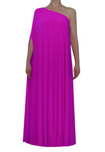 Fuchsia one shoulder dress Long formal gown Sexy prom dress XS-5XL