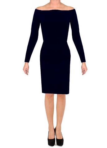 Off the shoulders dress Navy blue long sleeved cocktail & formal gown
