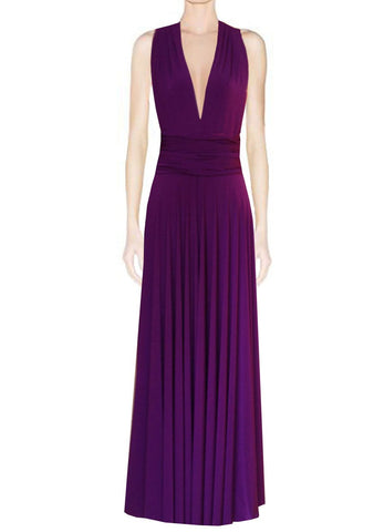 Long infinity bridesmaid dress Plum convertible gown for prom, evening or formal occasions XS-5XL