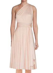 Short infinity bridesmaid dress Peach convertible gown for prom evening & formal occasions XS-5XL