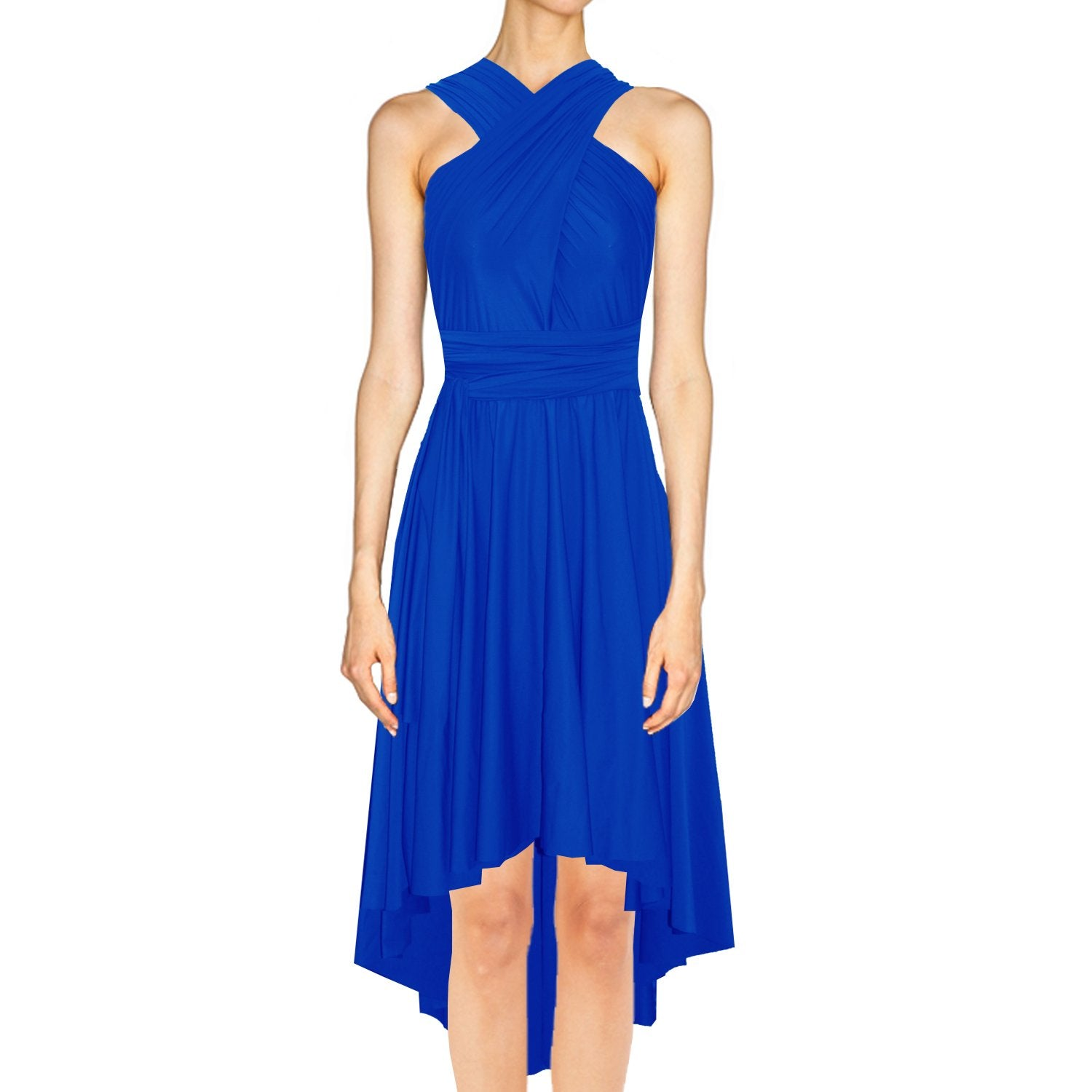High low infinity bridesmaid dress Royal blue convertible gown for prom evening & formal occasions XS-5XL