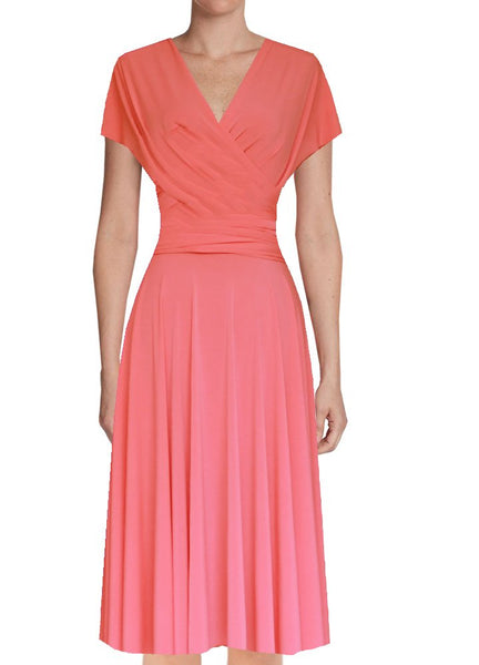 wrap coral dress plus size bridesmaids dress knee length prom gown