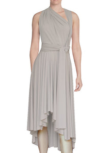 High low infinity bridesmaid dress Light beige convertible gown for prom evening & formal occasions XS-5XL