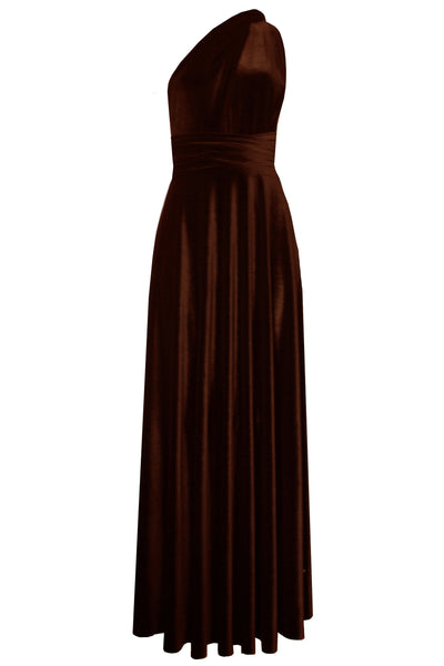 Infinity velvet dress Brown convertible dress Bridesmaids multi way dress Long plus size prom gown Formal maternity dress XS-5XL
