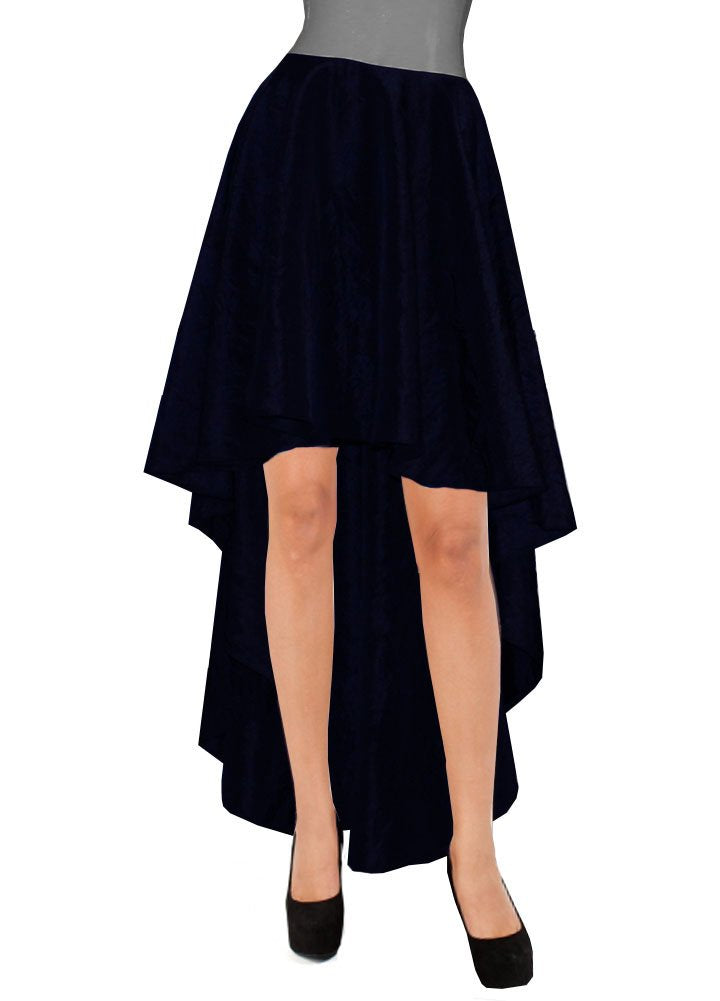 Navy blue taffeta skirt Hight low peacock skirt for formal or evening occasions