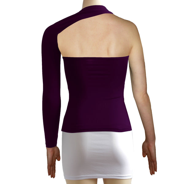 Plum backless top One shoulder shirt Long sleeve sexy top Festival shirt Rave party top