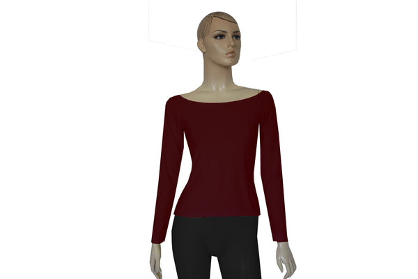 Bardot Top  Wine Off Shoulder Shirt Burgundy Long Sleeve Fitted Blouse