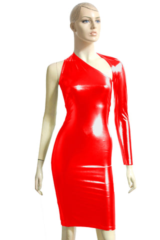 Metallic Red Dress One Shoulder Bodycon Backless Hobble dress Long Sleeve Pencil Dress Sexy Dress