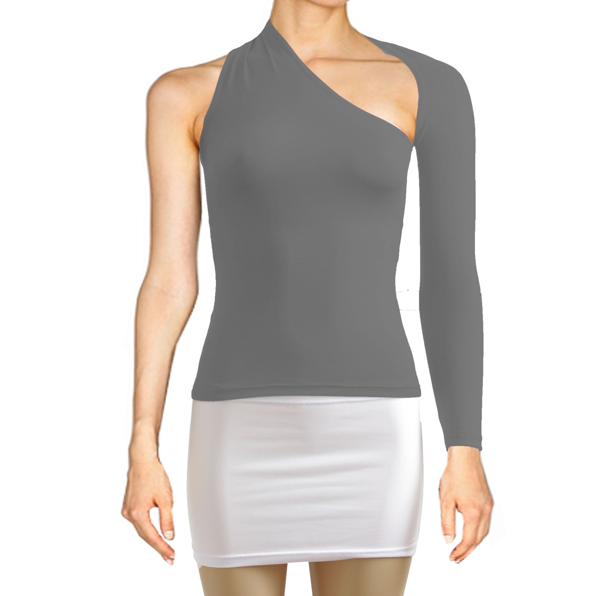 Gray backless top One shoulder shirt Long sleeve sexy top Festival shirt Rave party top