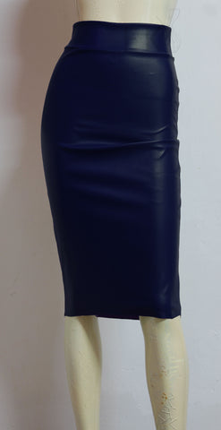 Leather Hobble Skirt Navy Blue Midi Skirt High Waist Pencil Bodycon Plus Size Wiggle Skirt