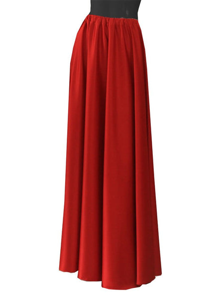 Long satin skirt Red formal evening party maxi skirt XS-L