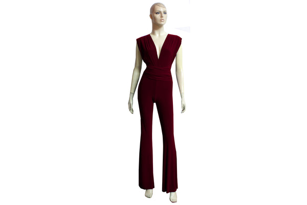 Convertible Jumpsuit Wine Infinity Overall Bridesmaids Multi Way Playsuit Plus Size Prom Outfit Formal Flare Pants Jumpsuit XS-4XL