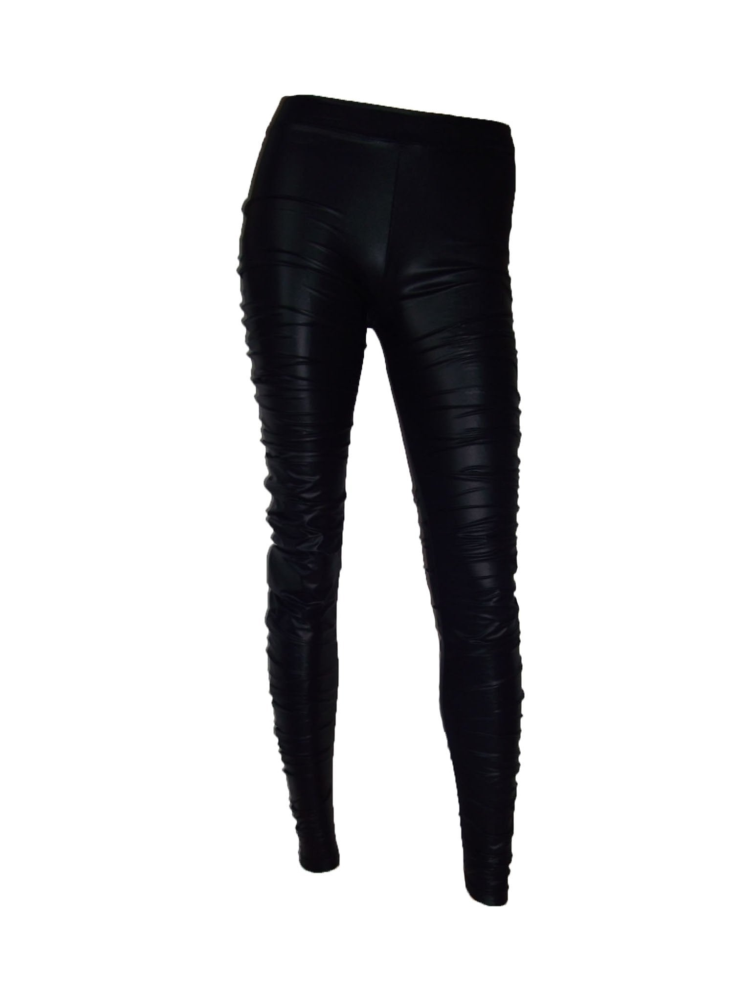 Leather look leggings Sexy tights Black high waist pants