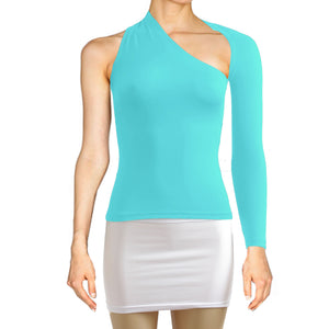Tiffany blue top Backless shirt One shoulder top Long sleeve sexy top Festival shirt Rave party top