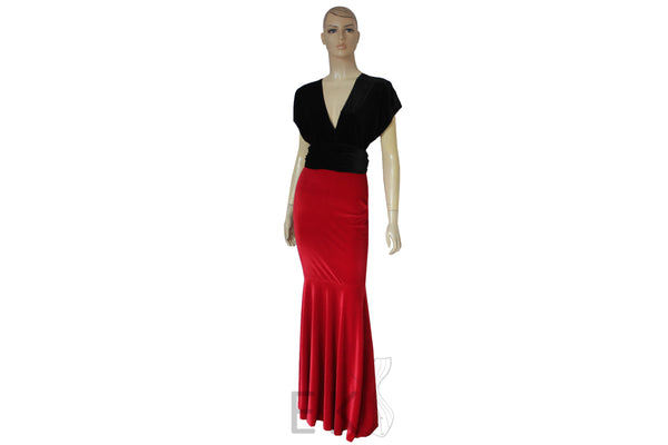 Mermaid prom dress Velvet infinity gown Bridesmaid maxi dress Red black convertible plus size dress