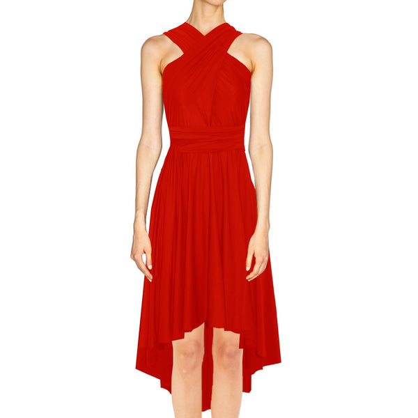 High low infinity bridesmaid dress Red convertible gown for prom evening & formal occasions XS-5XL