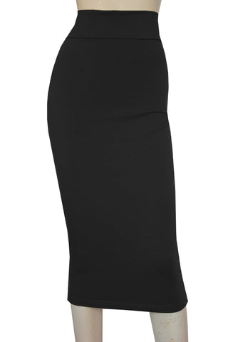 Pencil Skirt Black Hobble Skirt High Waist Jersey Skirt Cotton Office Bottoms Plus Size Midi Skirt