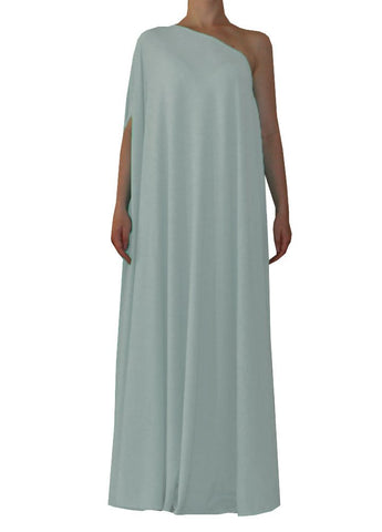 Light grey one shoulder dress Long formal gown Sexy prom dress XS-5XL