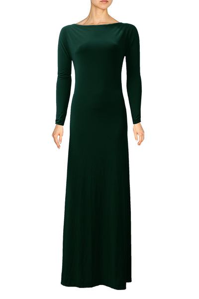 Dark Green Dress Bridesmaid Backless Dress Long Sleeve Prom Dress Open Back Maxi Formal Dress XS S