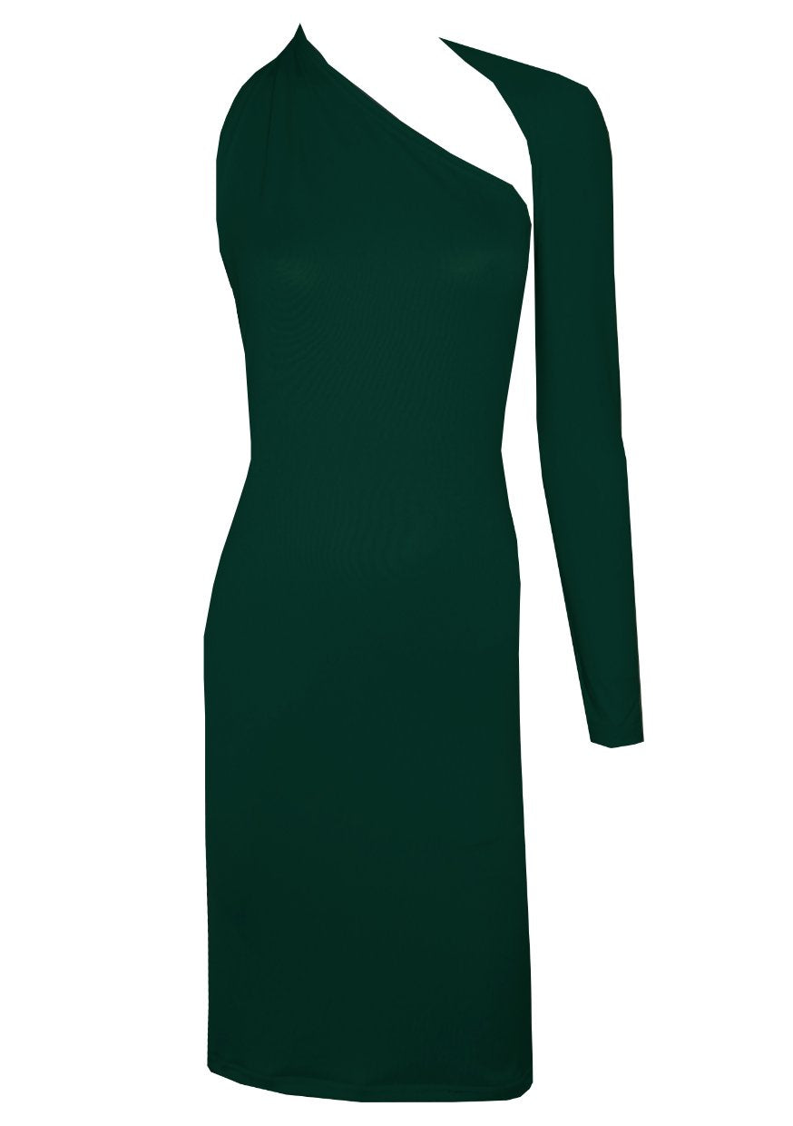 Dark green backless dress One shoulder long sleeved boodycon