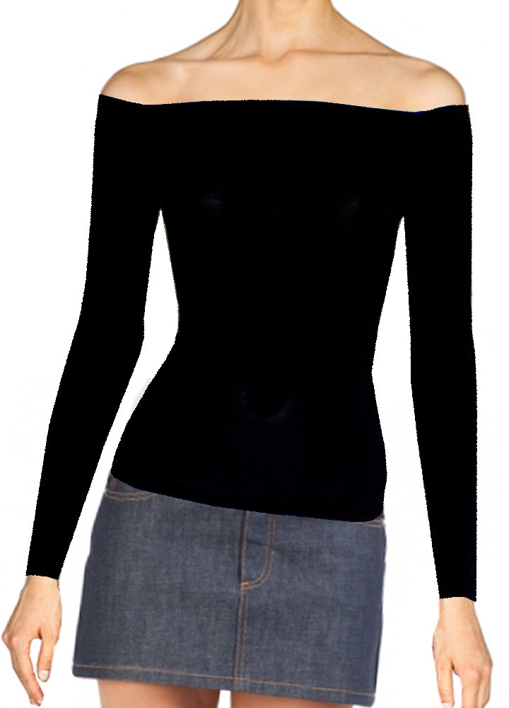 Off the shoulder black shirt Long sleeve party top