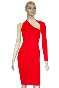 One shoulder pencil dress Red long sleeve bodycon Open back casual dress
