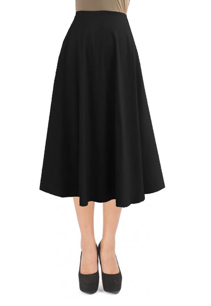 Black taffeta skirt in tea length for formal or evening occasions XS-4XL