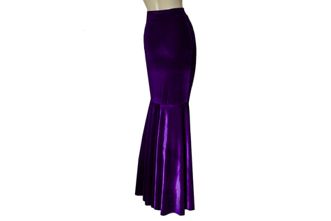 Purple Velvet Skirt Mermaid Plum Bridesmaids Skirt Deep Purple Fishtail Evening Skirt Plus Size Gown