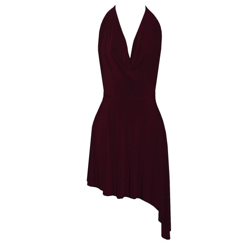 Backless Dress Wine Cowl Neckline Sexy Short Dress Open Back Halter Party Dress