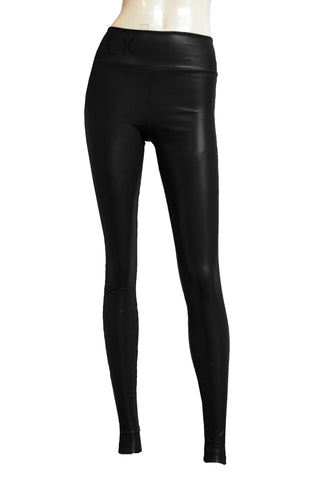 Black leather leggings Sexy mid rise tights Slim fit pants Plus size goth clothing Rave tights
