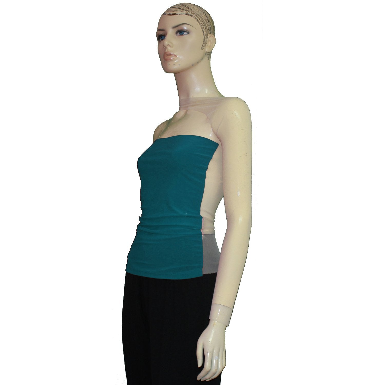 Sexy mesh shirt Teal backless top One shoulder long sleeve see through blouse