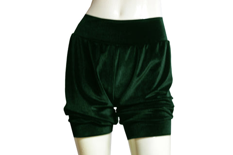 Dark green velvet shorts Sexy pinup bloomers Ballet shorts Festival bottoms Rave party shorts