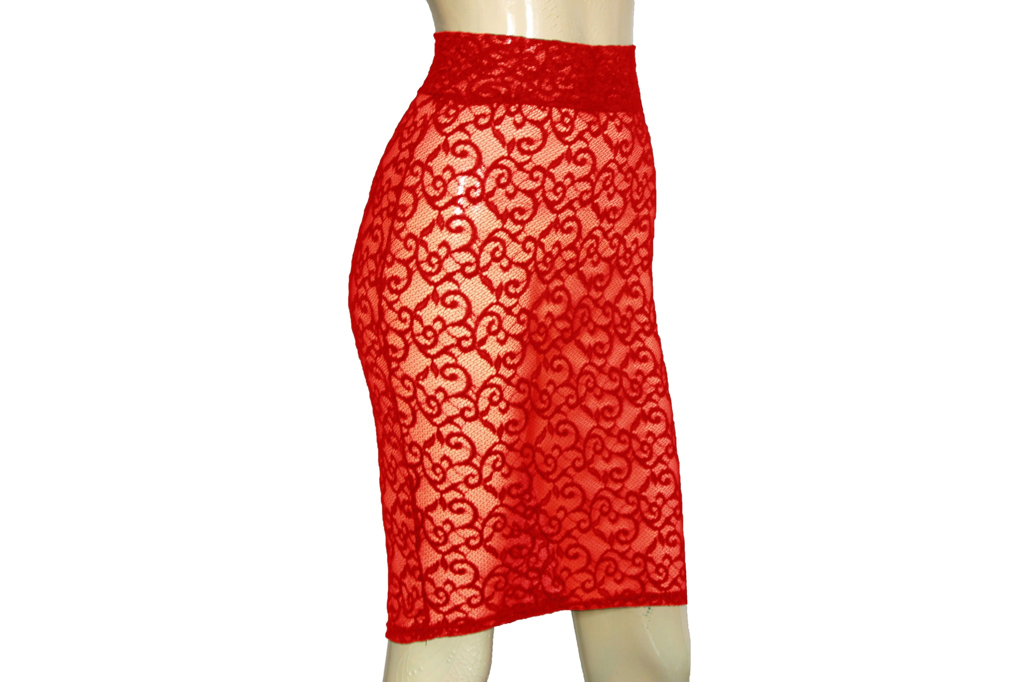Sheer Pencil Skirt Red Lace Bodycon See Through Knee Length Skirt Plus size Lingerie Sexy Gothic Clothing Rave Festival Bottoms