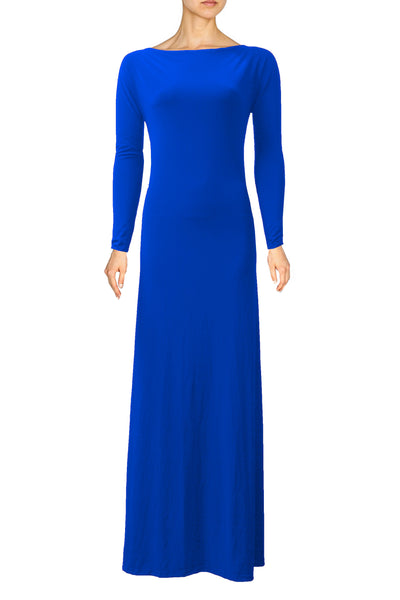 Royal Blue Dress Bridesmaid Backless Dress Long Sleeve Prom Dress Open Back Maxi Formal Dress XS S