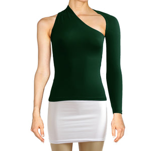 Dark green backless top One shoulder shirt Long sleeve sexy top Festival shirt Rave party top