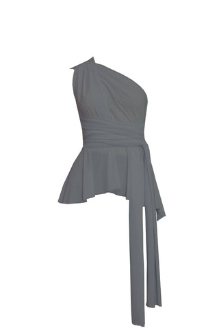 Convertible wrap top Bridesmaids peplum shirt Grey infinity high low blouse Octopus prom top XS-5XL