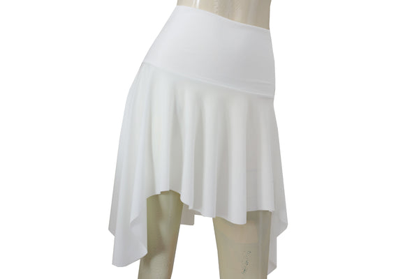 High Low Skirt Skater Skirt White Skirt Bridal Skirt Latin Dance Skirt Sexy Bachelorette Skirt Salsa Skirt Beach Skirt