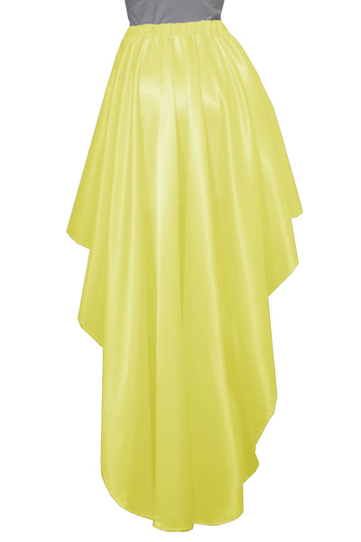 Yellow satin skirt High low bridesmaids skirt Plus size prom formal mullet skirt XS-5XL