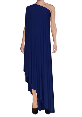 Navy blue one shoulder dress Asymmetric hem high long formal sexy prom dress XS-5XL