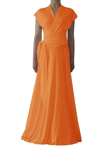 Long convertible bridesmaids dress Orange infinity gown for prom, weddings or formal occasions XS-5XL