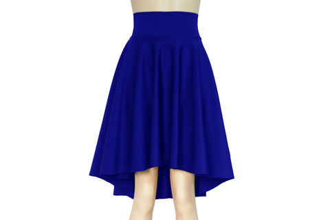 Circle skirt Royal blue high low skirt Plus size flare skirt Water resistant neoprene clothing Skater skirt Streetwear outfit