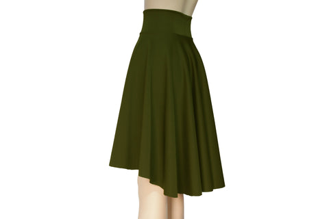 Olive green skirt High waist circle skirt Plus size flare skirt Water resistant neoprene clothing Skater skirt Urban outfit