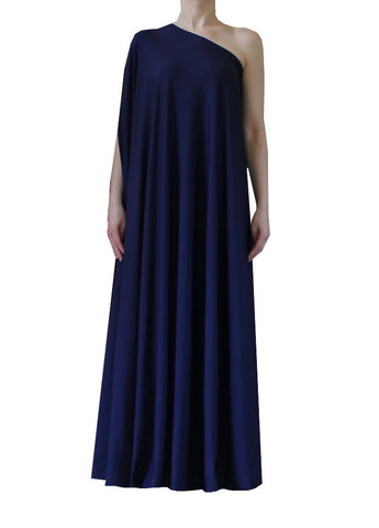 Navy blue one shoulder dress Long formal gown Sexy prom dress XS-5XL