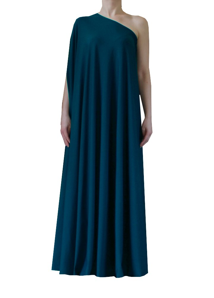 Teal one shoulder dress Long formal gown Sexy prom dress XS-5XL