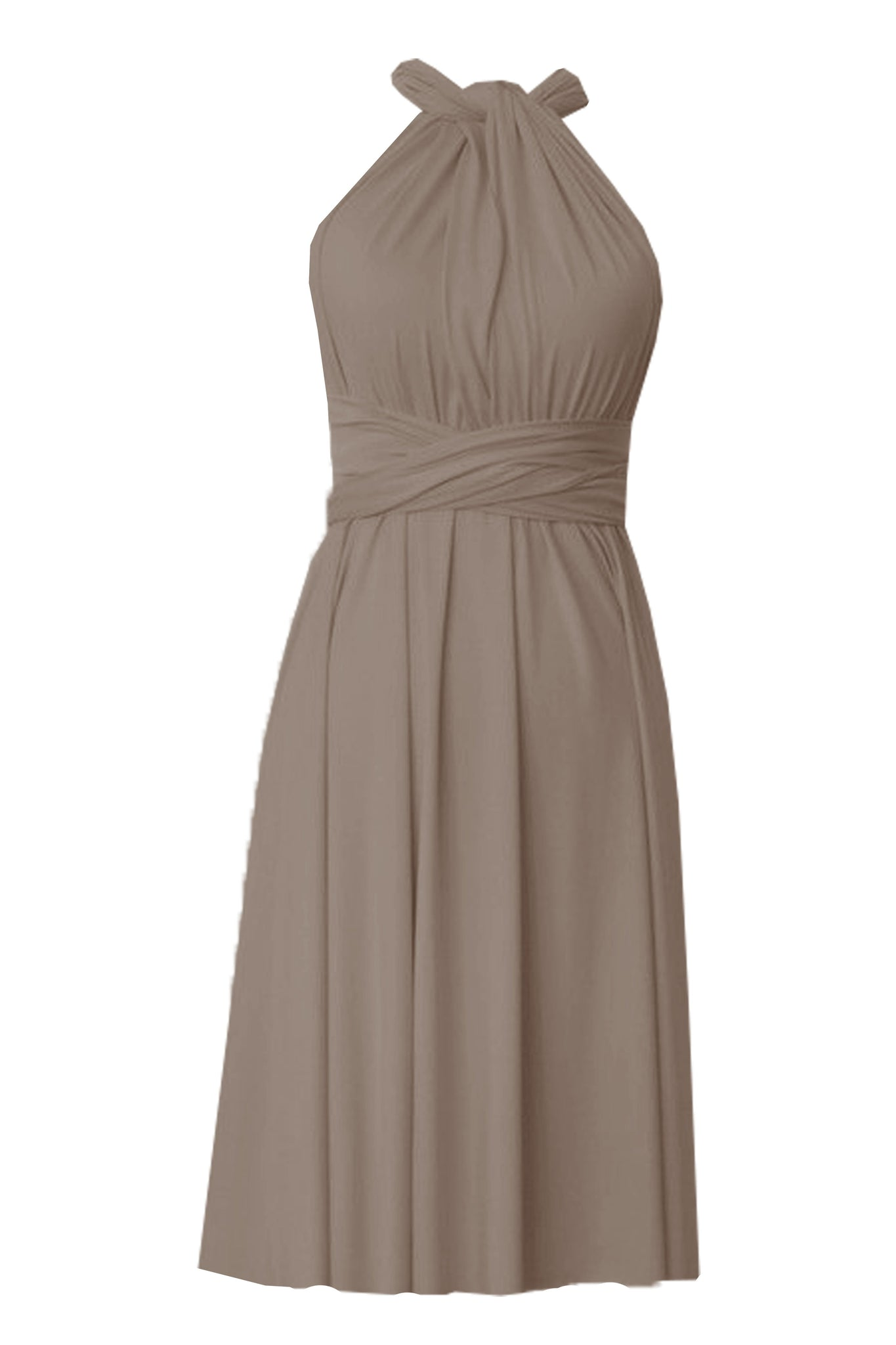 Infinity bridesmaids dress Taupe convertible knee length dress Plus size prom evening formal dress XS S M L XL 0XL 1XL 2XL 3XL 4XL 5XL