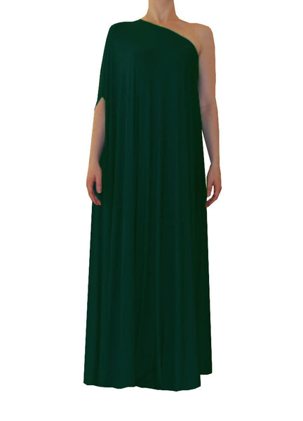 Dark green one shoulder dress Long formal gown Sexy prom dress XS-5XL