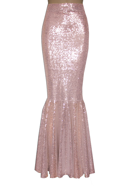 Rose Gold Sequin Skirt Mermaid Bridesmaid Skirt Maxi Formal Skirt Fish Tail Plus Size Metallic Bottoms Prom Skirt XS-5XL