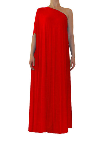 Red one shoulder dress Long formal gown Sexy prom dress XS-5XL